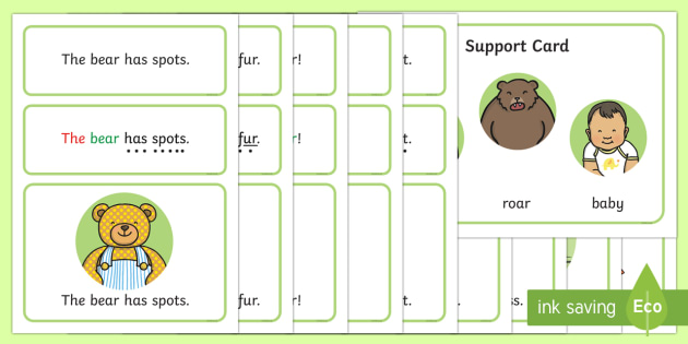 Bears Simple Sentence Cards - reading, sentences, eyfs, word cards, decoding, tricky words, phase 4, phoneme, grapheme, sound butt
