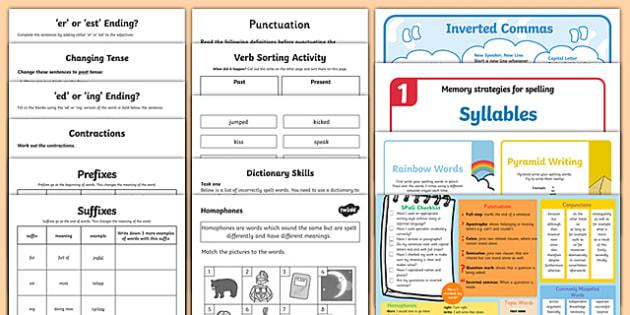 KS2 Spelling and Grammar Resource Pack - grammar, spell, pack