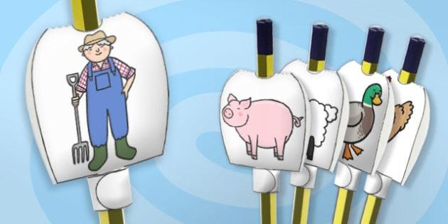 Farm Themed Pencil Topper - paper, pencil, tops, puppet, party