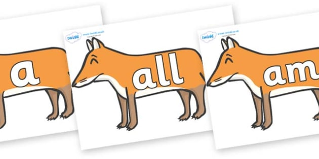 Foundation Stage 2 Keywords on Foxes - FS2, CLL, keywords, Communication language and literacy,  Display, Key words, high frequency words, foundation stage literacy, DfES Letters and Sounds, Letters and Sounds, spelling