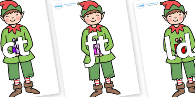Final Letter Blends on Green Elf (Boy) - Final Letters, final letter, letter blend, letter blends, consonant, consonants, digraph, trigraph, literacy, alphabet, letters, foundation stage literacy