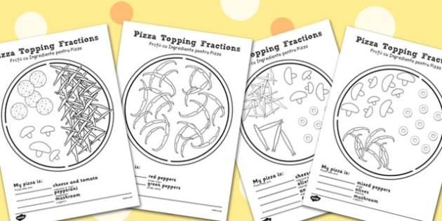 Pizza Fractions Worksheets: Halves, Quarters and Thirds Romanian Translation - romanian