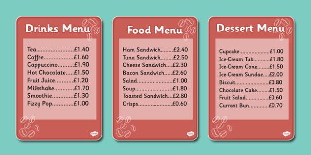 Cafe Menus (Individual) - Cafe, Shop, menu, role play, order, waitress, customer, waiter, menu, coffee, tea, waitress, till, cakes, cake, milk, sugar, table, chairs