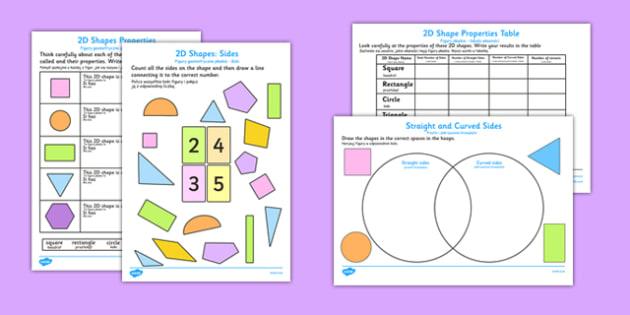 Properties of 2D Shapes Activity Sheets Polish Translation - polish, 2d, shapes, activity, worksheet