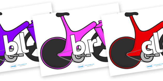 Initial Letter Blends on Bikes - Initial Letters, initial letter, letter blend, letter blends, consonant, consonants, digraph, trigraph, literacy, alphabet, letters, foundation stage literacy