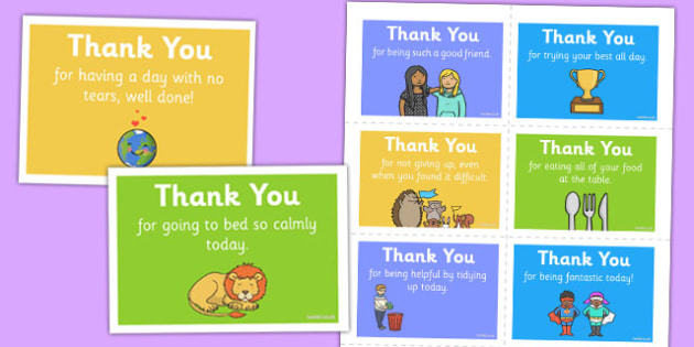 Thank You Notes Children at Home - thank you, note, behaviour, positive, thanks, praise, home, good