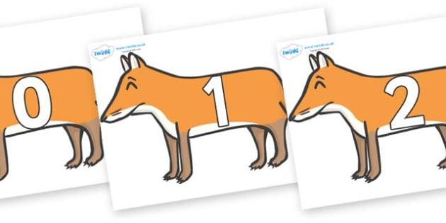 Numbers 0-31 on Foxes - 0-31, foundation stage numeracy, Number recognition, Number flashcards, counting, number frieze, Display numbers, number posters