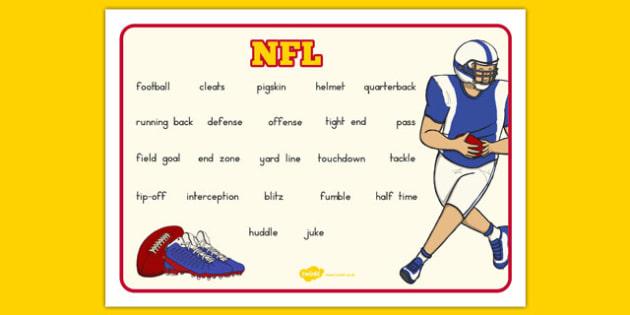 NFL Vocabulary Mat - usa, nfl, vocabulary mat, vocabulary, mat, word mat, football, american football