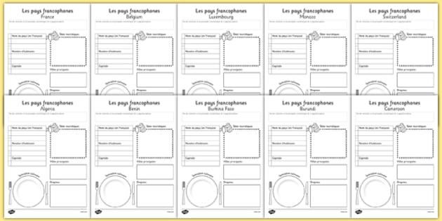 Exposé sur les pays francophones - Aide au travail écrit - French-speaking countries, francophone, francophonie, research, project, writing frame, template, french, speaking, countries, country, fact, file