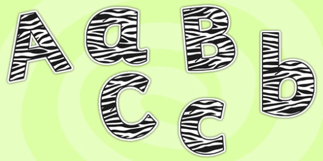 Zebra Pattern Size Editable Display Lettering - zebra pattern, size editable, display lettering, editable lettering, lettering for display, display letters