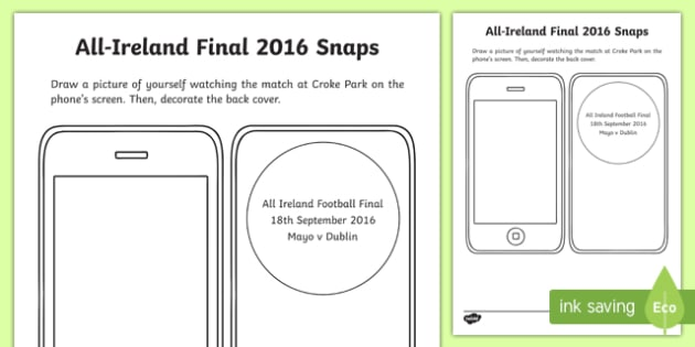My All Ireland Football Final Snapshots Writing Activity Sheet-Irish, worksheet