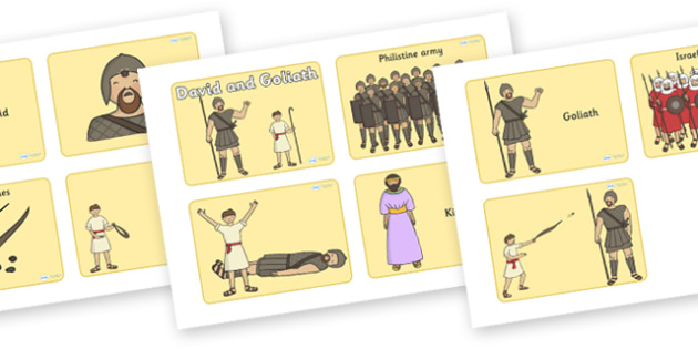 David and Goliath Visual Aids (4 per A4) - David and Goliath, David, King Saul, Goliath, visual aid, aids, 4 per A4, Philistine army, Israelite, sling, stones, sling and stones, death, kill, small, giant, clever