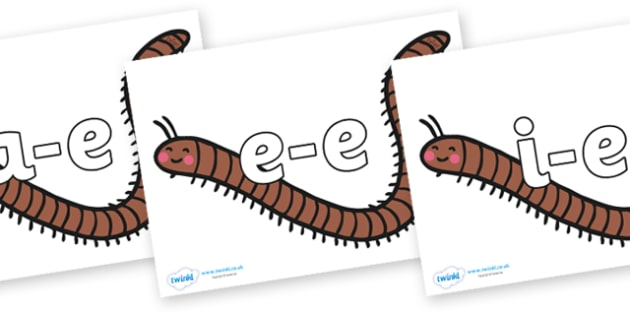 Modifying E Letters on Millipedes - Modifying E, letters, modify, Phase 5, Phase five, alternative spellings for phonemes, DfES letters and Sounds
