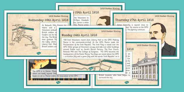 1916 Rising Timeline Sheets - gaeilge, Easter 1916 Rising, irish history, timeline cards, display posters
