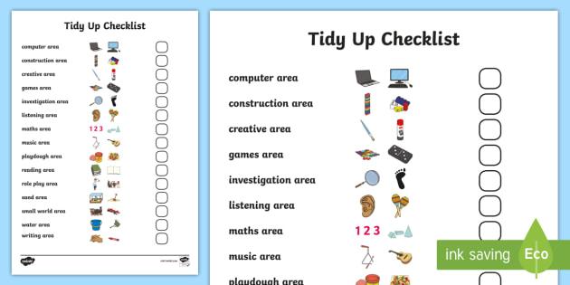 Class Tidy Up Checklist - Tidy Up, checklist, Pupil jobs, tidy, job badges, monitors, classroom monitors, pupil jobs, helpers, job labels, Foundation Stage Labels, Teaching Labels