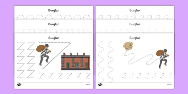 Burglar Pencil Control Sheets - burglar bill, burglar, pencil control