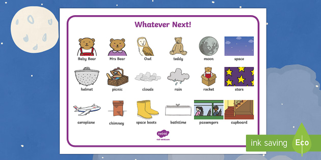 Word Mat to Support Teaching on Whatever Next! - Whatever Next!, Jill Murphy,  resources, space, baby bear, Large family, rocket, moon, owl, story, story book, story book resources, story sequencing, story resources, word mat, writing aid
