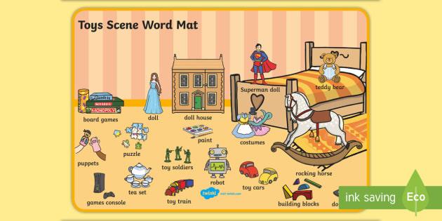 Toys Scene Word Mat - toys, word mat, visual aid, keywords