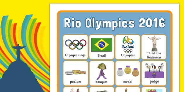 Rio Olympics 2016 Vocabulary Poster - rio olympics, rio, olympics, 2016, vocabulary, poster, display