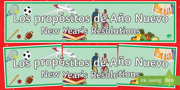 New Years Resolutions Display Banner Spanish Translation - spanish, new years resolution, near year, resolution, display banner, display, banner
