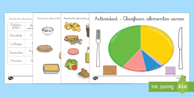 Actividad de clasificar de alimentación sana - comer sano, comida sana, comer saludable, comida saludable, fruta, verdura, dieta saludable, dieta s