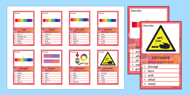Acids and Alkalis Can You Guess? Cards