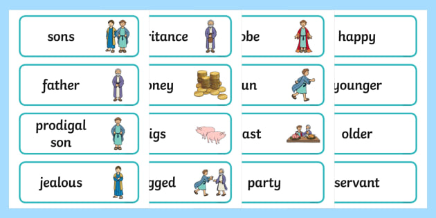The Prodigal Son Word Cards - The Prodigal Son, son, father, prodigal, the lost son, lost, word card, flashcards, cards, coming back, father and son, jealous, pigs, inheritance, return, party, feast