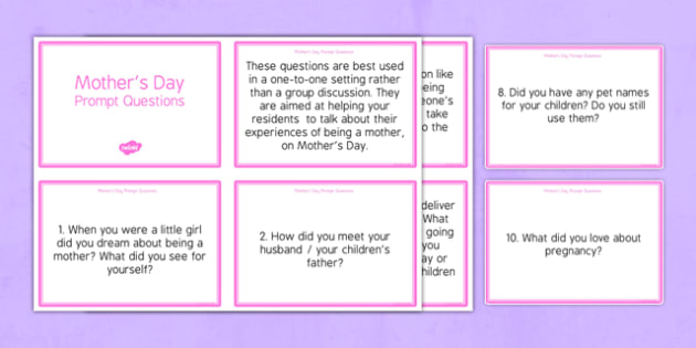 Elderly Care Mother's Day Prompt Questions - Elderly, Reminiscence, Care Homes, Mother's Day, activity, memory