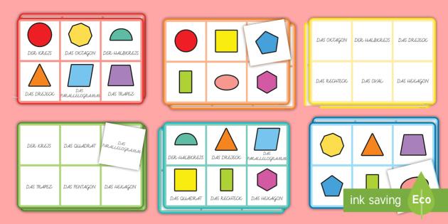 Geometrische Flächen: Namen Bingo Spiel -  Geometrie, Flächen, 2D, Ebene Figuren, Bingo, Spiel,German
