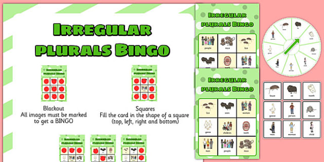 Irregular Plurals Spinner Bingo - SLI (specific language impairment), grammar, EAL, language disorder, Language delay