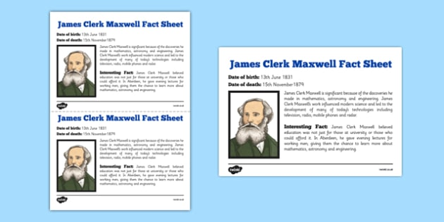 Scottish Significant Individuals James Clerk Maxwell Fact Sheet - CfE, significant individuals, science, maths, engineering, electromagnetic radiation