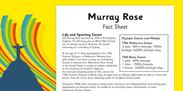 Australian Olympic Athletes Fact Sheet Murray Rose - Australia, Olympic Games, Olympics, Paralympics, Athletes, Information, Fact Sheet, Reading Comprehension, Year 6 History