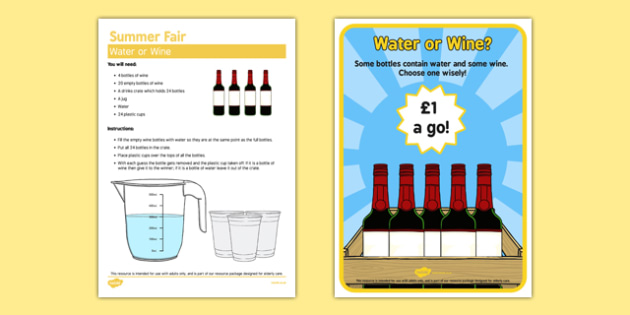 Elderly Care Summer Fair Water or Wine - Elderly, Reminiscence, Care Homes, Summer Fair