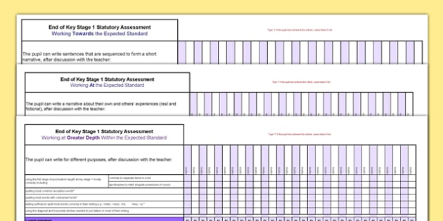 KS1 Writing Exemplification Overview for Whole Class Spreadsheet - ks1, exemplification, overview, whole class, spreadsheet