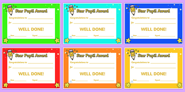 Star Pupil Award Certificates - star pupil award certificates, certificates, award, well done, reward, medal, rewards, school, general, certificate, achievement