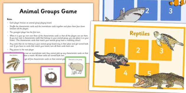 Animal Groups Game - living things, habitats, variation, classification, vertebrates, game