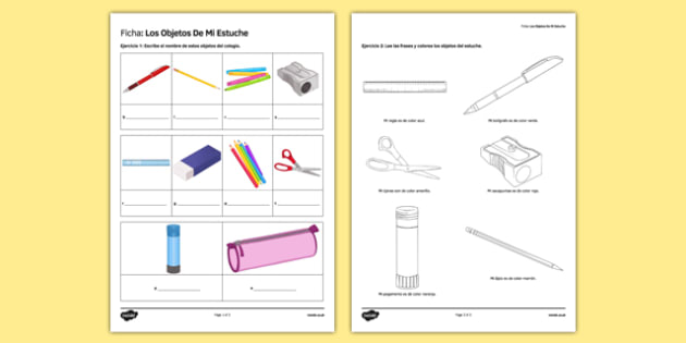 Los objetos de mi estuche In My Pencil Case Spanish Activity Sheet - spanish, pencil case items, estuche, ficha, worksheet, clase, colours, writing, escribir