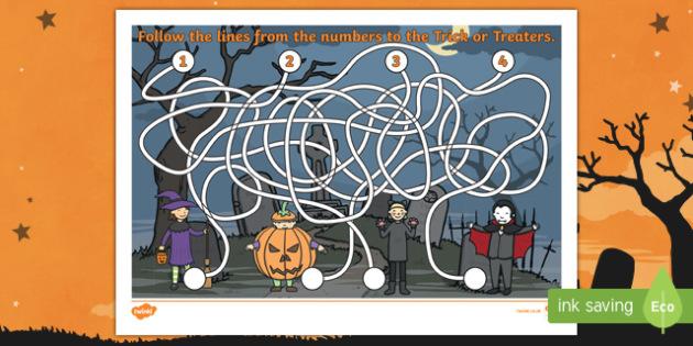 Halloween Themed Pencil Control Maze Activity