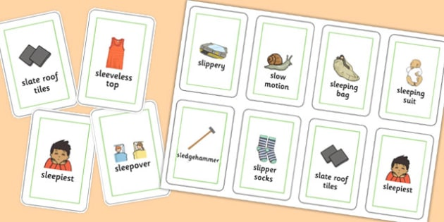 Three Syllable SL Playing Cards - sen, sound, special educational needs, sl, playing cards