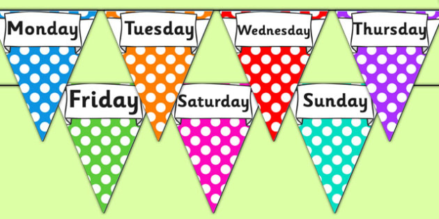 Days of the Week Display Bunting - days of the week bunting, days of the week, days of the week on bunting, days bunting, days on bunting