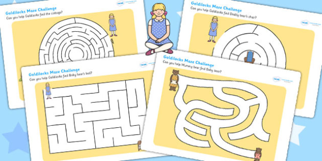 Goldilocks Differentiated Maze Activity Sheet Pack - traditional tale, worksheet