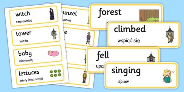 Rapunzel Word Cards Polish Translation - polish, rapunzel, word cards, word, cards
