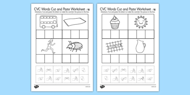 CVC Words Cut and Paste Worksheets u with British Sign Language