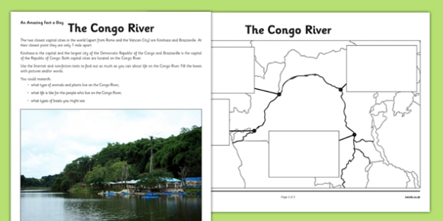 The Congo River Activity Sheet - congo river, africa research, activity sheet, worksheet