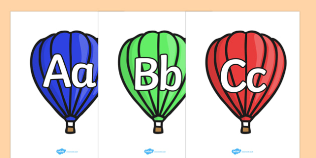 A-Z on Hot Air Balloons (plain) - Alphabet frieze, Display letters, Letter posters, A-Z letters, Alphabet flashcards, hot air balloons