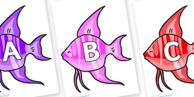 A-Z Alphabet on Angelfish - A-Z, A4, display, Alphabet frieze, Display letters, Letter posters, A-Z letters, Alphabet flashcards