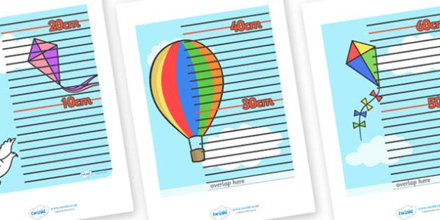Sky Themed Height Chart - sky themed, height chart, height, heights, chart, record, sky, sun, clouds, centimetres, metres, different, measuring, measurement