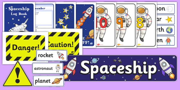 Spaceship Role-Play Pack - Spaceship Role Play Pack, space, rocket, Role Play Pack - role play, Display signs, display, labels, packspace ship, alien, moon, astronaut, space log, stars, planets, role play, display, poster