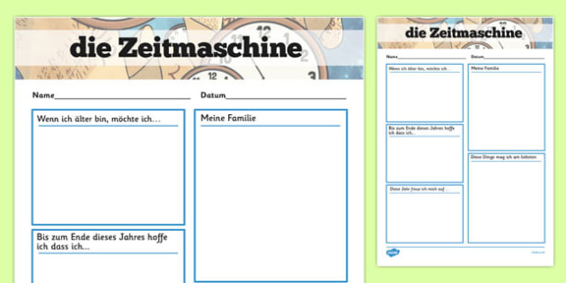 Time Capsule Transition Writing Frame German - german, writing frame, time capsule, transition writing frame, transition, time capsule writing frame, writing template