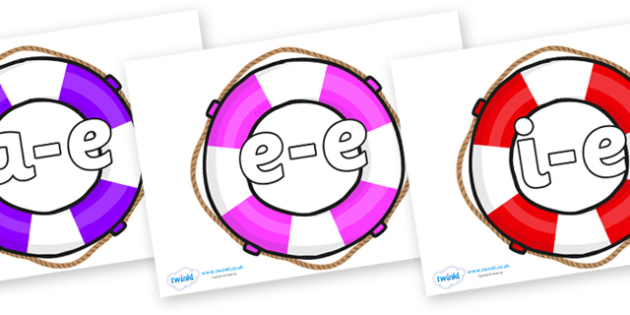 Modifying E Letters on Life Belts - Modifying E, letters, modify, Phase 5, Phase five, alternative spellings for phonemes, DfES letters and Sounds